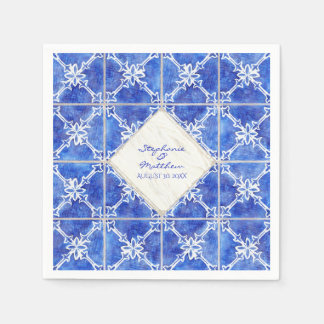 Blue White Tile Pattern Wedding Watercolor Rustic Napkin