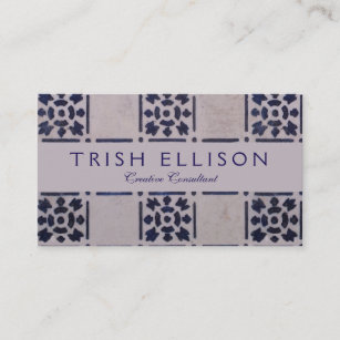 Ceramic tile business cards business card printing zazzle ca blue white tile square graphic vintage art business card reheart Gallery