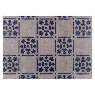 Blue White Tile Square Graphic Vintage Art Cutting Board