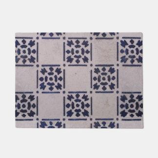 Blue White Tile Square Graphic Vintage Art Doormat