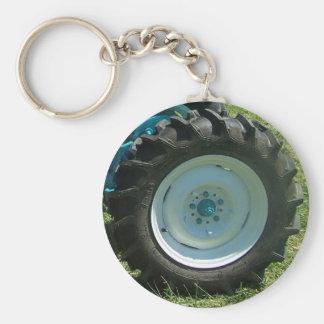 blue white tractor wheel keychain