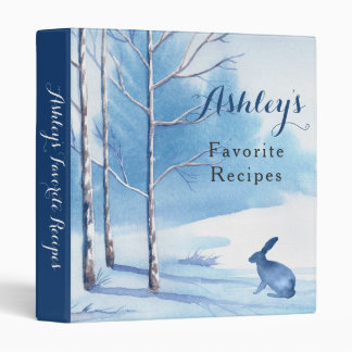 Blue White Trees Rabbit Winter Recipe Binder