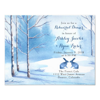 Blue White Trees Rabbit Winter Rehearsal Dinner Card