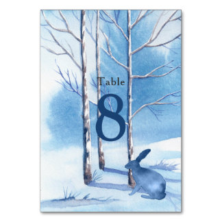 Blue White Trees Rabbit Winter Wedding Table Card