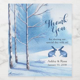 Blue White Trees Rabbit Winter Wedding Thank You Wine Label
