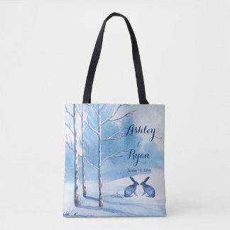 Blue White Trees Rabbits Winter Wedding Bag