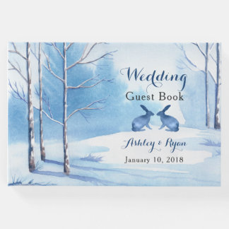 Blue White Trees Rabbits Winter Wedding Guest Book