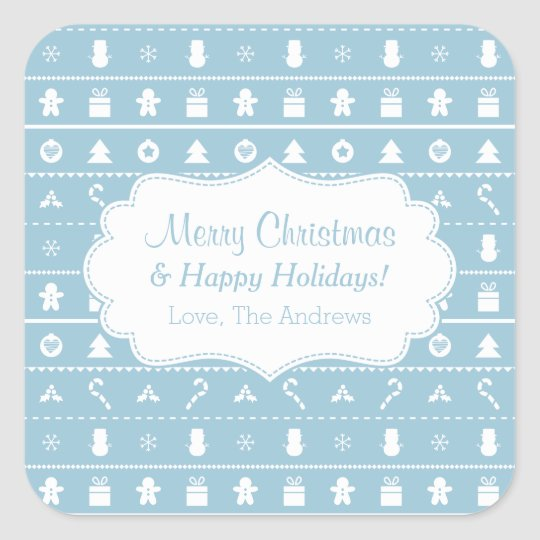 Blue White Ugly Christmas Sweater Icons Pattern Square Sticker