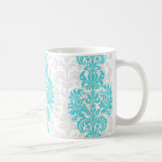 Blue & White Vintage Floral Damasks Basic White Mug