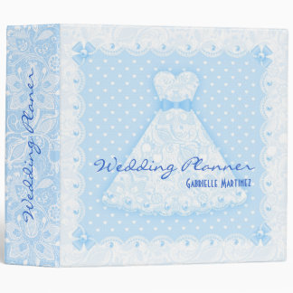 Blue White Vintage Lace & Pearls-Wedding Planner Binder