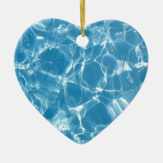 Blue White Water Top  Ripples Ceramic Heart Ornament