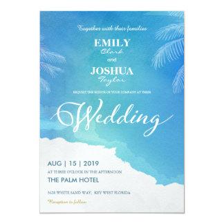 Blue & White Watercolor Beach Wedding Invitation