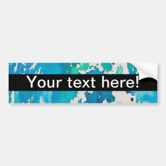 Blue white watercolor splashes bumper sticker