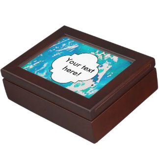 Blue white watercolor splashes keepsake box