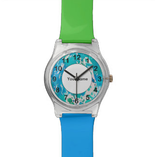 Blue white watercolor splashes watch