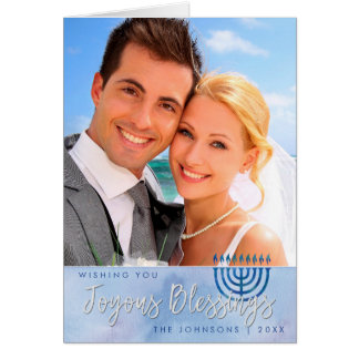 Blue & White Watercolor Star of David Hanukkah Card