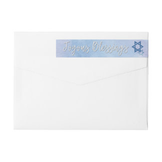 Blue & White Watercolor Star of David Hanukkah Wrap Around Label