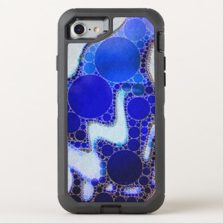Blue White Wavy Abstract OtterBox Defender iPhone 7 Case
