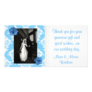 Blue & White Wedding Photo Thank You Card Custom Photo Card