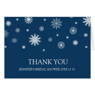 Blue White Winter Bridal Shower Thank You Card