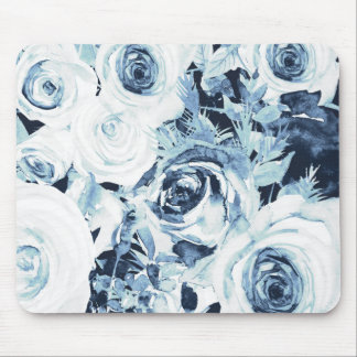 Blue & White Winter Floral Roses Vintage Mouse Pad