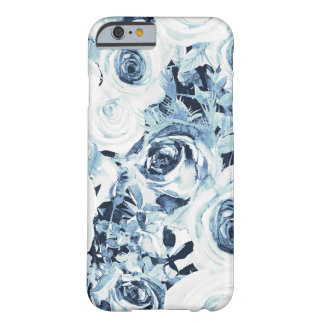 Blue White Winter Floral Roses Vintage Shabby Chic Barely There iPhone 6 Case