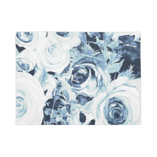 Blue White Winter Floral Roses Vintage Shabby Chic Doormat