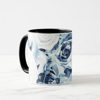 Blue White Winter Floral Roses Vintage Shabby Chic Mug