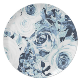 Blue White Winter Floral Roses Vintage Shabby Chic Plate