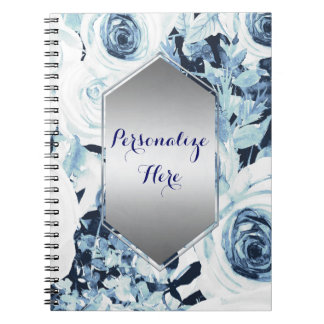 Blue White Winter Floral Roses Vintage Shabby Chic Spiral Notebook