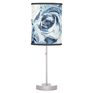 Blue White Winter Floral Roses Vintage Shabby Chic Table Lamp