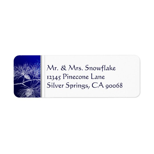 Blue White Winter Pine Custom Return Address