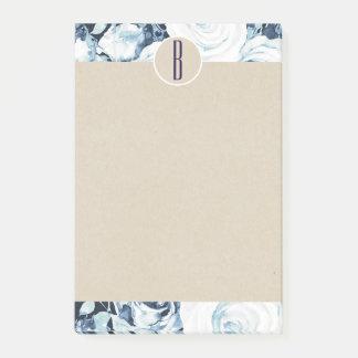 Blue White Winter Roses Kraft Rustic Monogram Post-it Notes