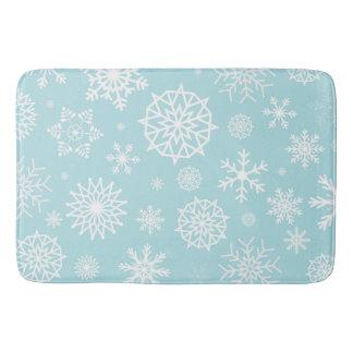 Blue White Winter Snowflake Christmas Holidays Bath Mat