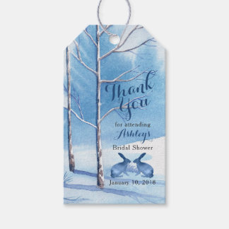 Blue White Winter Trees Bridal Shower Thank You Gift Tags