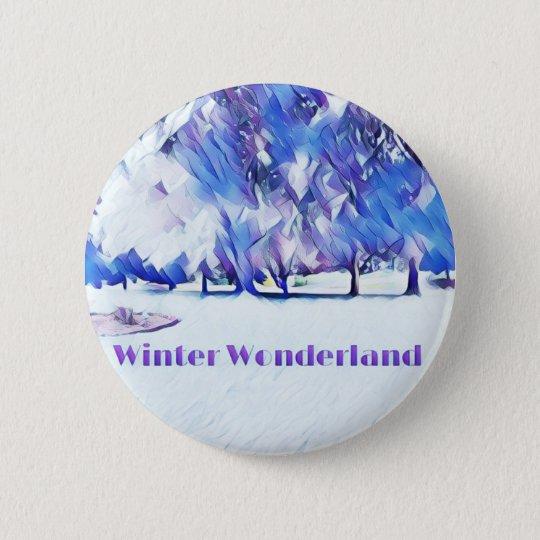 Blue White Winter Wonderland Artistic Landscape 2 Inch Round Button