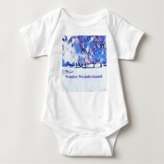 Blue White Winter Wonderland Artistic Landscape Baby Bodysuit