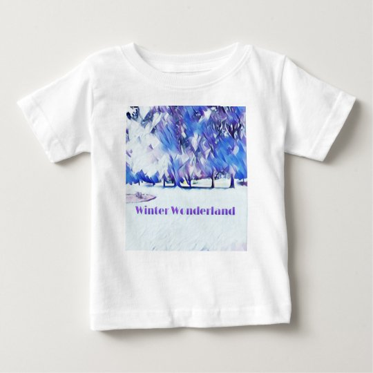 Blue White Winter Wonderland Artistic Landscape Baby T-Shirt