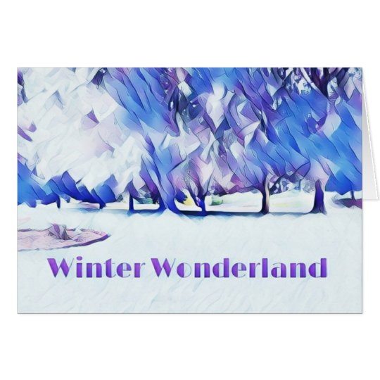 Blue White Winter Wonderland Artistic Landscape Card