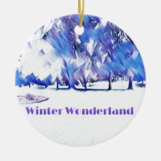 Blue White Winter Wonderland Artistic Landscape Ceramic Ornament