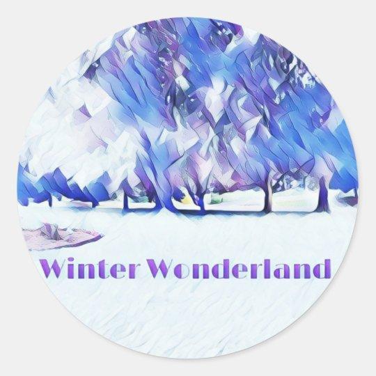 Blue White Winter Wonderland Artistic Landscape Classic Round Sticker