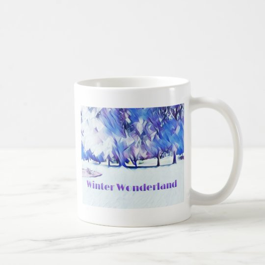 Blue White Winter Wonderland Artistic Landscape Coffee Mug