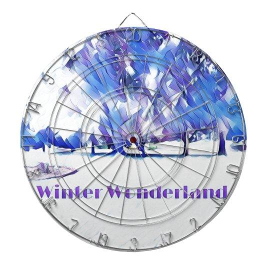 Blue White Winter Wonderland Artistic Landscape Dartboard