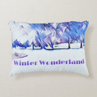 Blue White Winter Wonderland Artistic Landscape Decorative Pillow