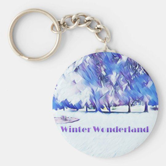 Blue White Winter Wonderland Artistic Landscape Keychain