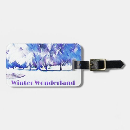 Blue White Winter Wonderland Artistic Landscape Luggage Tag