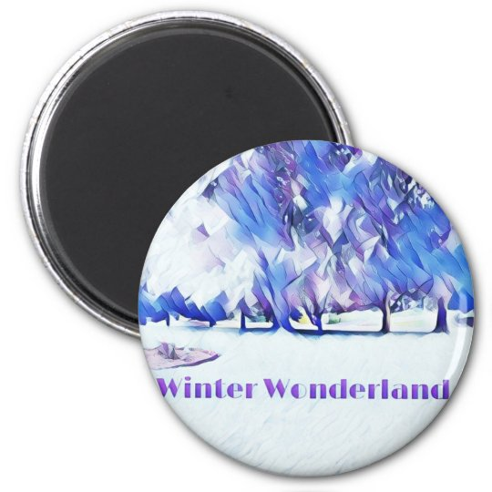 Blue White Winter Wonderland Artistic Landscape Magnet