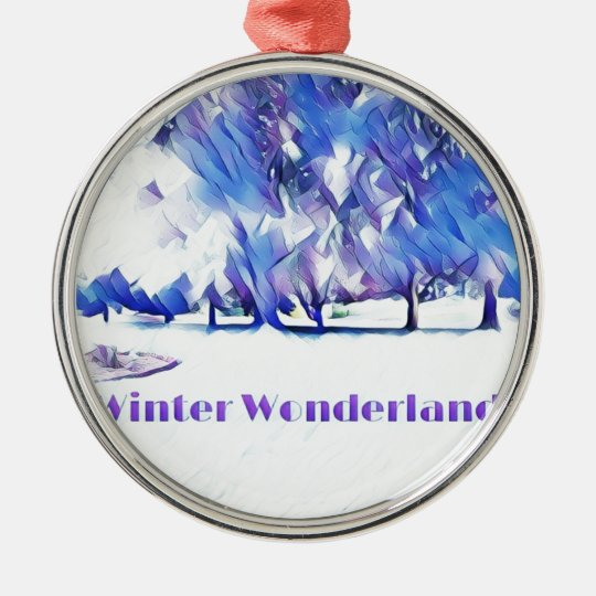 Blue White Winter Wonderland Artistic Landscape Metal Ornament