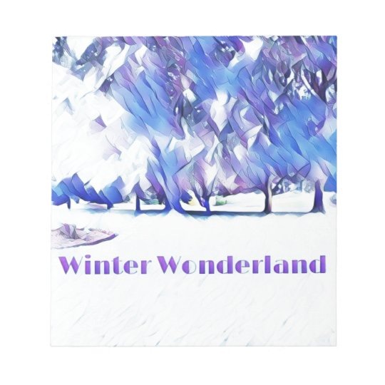 Blue White Winter Wonderland Artistic Landscape Notepad