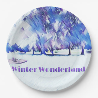 Blue White Winter Wonderland Artistic Landscape Paper Plate